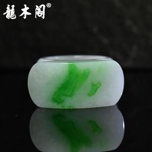 缅甸A货翡翠 冰糯种飘阳绿 22mm圈口扳指 fcs-089