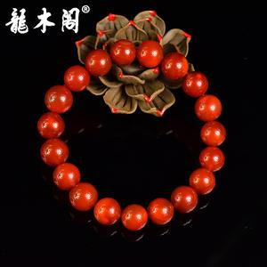 凉山九口南红 11mm柿子红火焰纹 佛珠手串 sbj-4240-3