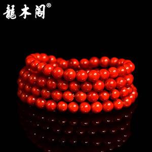 四川九口南红 6.5mm长款念珠 柿子红火焰纹 念珠手链 sl-7416-2