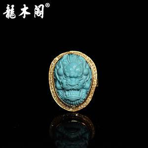 原矿绿松石高瓷高蓝 精工龙首戒指 18k金镶钻戒托 sbj-4195
