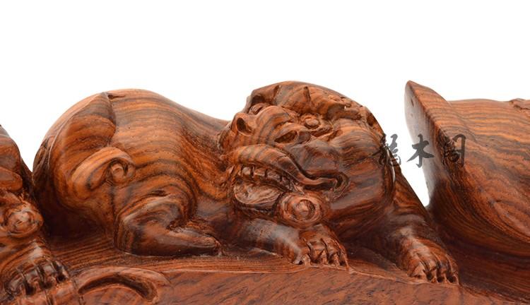 越南黄花梨 水波纹双狮如意 木雕摆件 bj-719