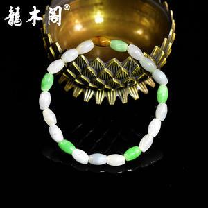 天然A货翡翠 冰糯种三彩 5*7mm桶珠  单圈手串 fcs-021 福利