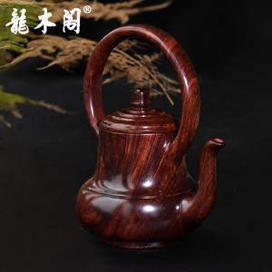 海南黄花梨 紫油梨老料木雕茶壶 提梁壶 手把玩摆件 mbj-3446