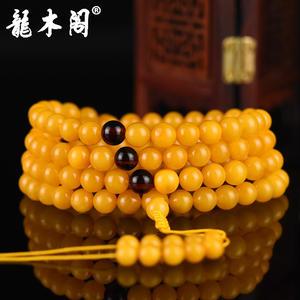 天然波罗的海琥珀 6mm鸡油黄蜜蜡 男女佛珠手串手链 stsl-051-1