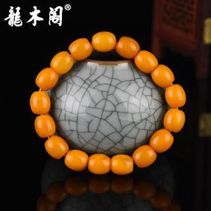 波罗的海琥珀蜜蜡 鸡油黄枣形珠 男女佛珠手串 stsl-033-1