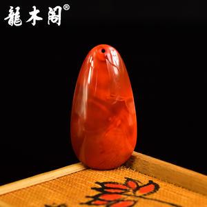 凉山九口南红 玫瑰柿子红 水滴素面吊坠挂件 sbj-4251-2