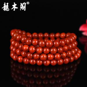 四川九口南红 7mm长款念珠 柿子红火焰纹 念珠手链 sl-8415