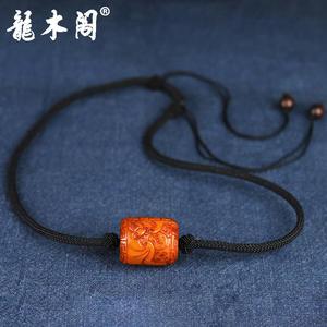 回流老蜜蜡 精雕福在眼前 桶珠吊坠 锁骨链 stj-001-1