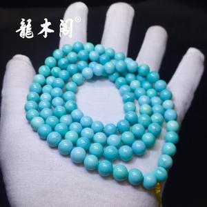 瓷釉级湖北溢水天空蓝绿松石大规格念珠手链sl-8022-4