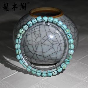 天然原矿湖北绿松石 5*5.5mm老型珠 佛珠手串 sl-8385-2