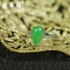 天然A货翡翠 冰糯种满绿阳绿 18k金水滴造型镶钻戒指 奢侈珠宝首饰 fcs-070
