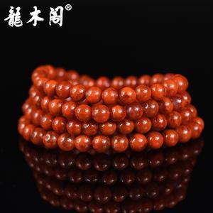 四川九口南红 6.5mm长款念珠 柿子红火焰纹 念珠手链 sl-8079-3