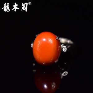 天然九口南红 柿子红 戒面 活口戒指  925银精雕戒托 sbj-4255-1 特价