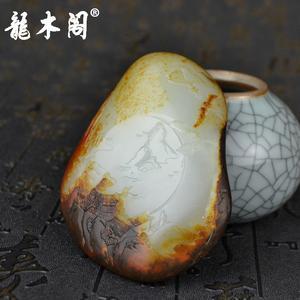 新疆和田籽料 苏工山水牌 洒金皮枣红皮 独籽 挂件摆件 hty-257 顶级收藏