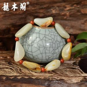 新疆和田玉籽料 原颗随形石子手链 原皮毛孔 配南红隔珠  hty-948