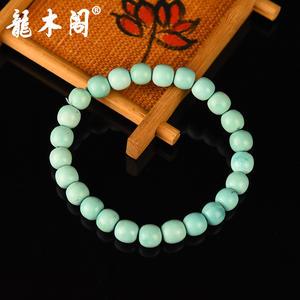天然原矿湖北绿松石 高瓷老型珠 佛珠手串 sbj-4723-5