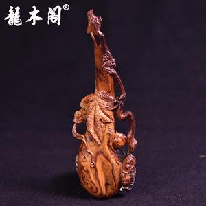 海南黄花梨 虎皮纹雕件 丝瓜蜗牛 步步为赢 摆件手把件 mbj-3468