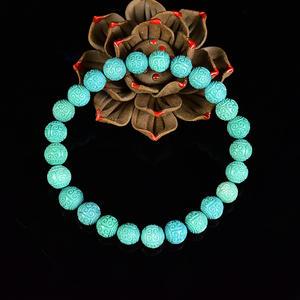 纯天然原矿中蓝瓷松 8mm绿松石精工回纹珠 佛珠手串 sbj-4345-2