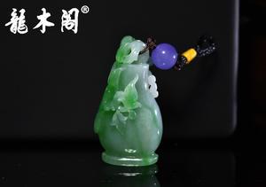 缅甸A货翡翠 冰糯种翠绿喜鹊宝瓶 吊坠挂件 fcs-082