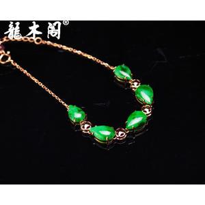 天然A货翡翠 糯种满绿 18k金镶嵌  女款手链 fcs-045