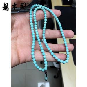 天然无优化原矿 高瓷高蓝 绿松石手链 5mm108颗 dsbj-5009